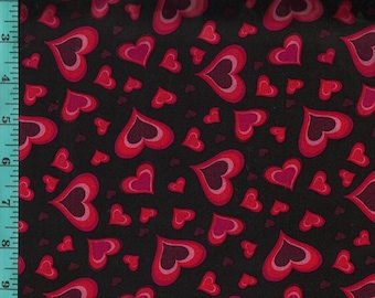 Valentine Varies of Hearts Fabric, Cotton Quilting Crafting Home Decor