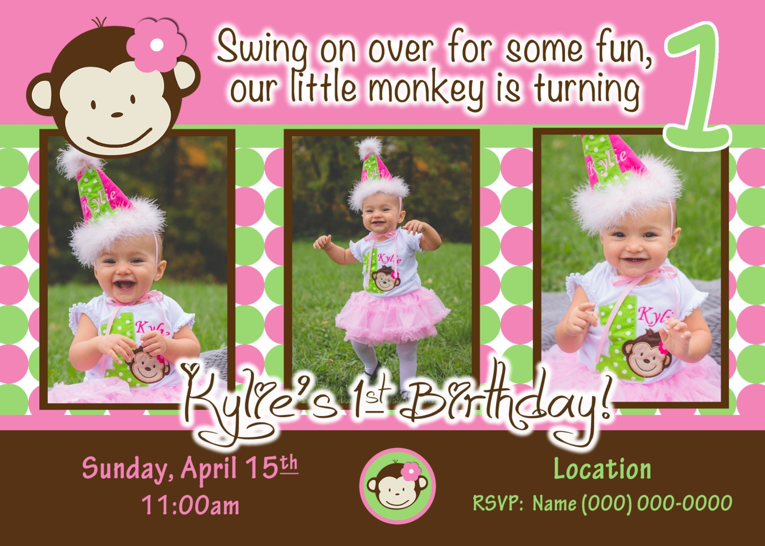 Monkey Invite Mod Monkey Invitation Photo 1st Birthday Party