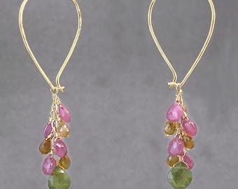 Teardrop cluster hoop earrings pink ruby, citrine, vessonite Carnivale 48