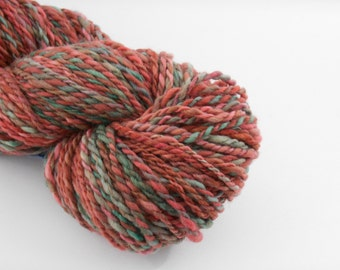 Handspun mérinos , green brown red