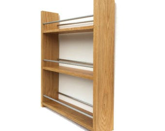 Solid English Oak Spice Rack - Deep Capacity and Open Top for Taller Jars, Bottles & Packets. 3 Shelves, Many Widths