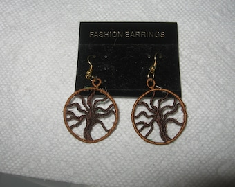 Machne  embroidered  Tree of Life  earrings,,,Makes a great gift