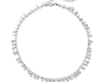 Italian Rhodium Plated Sterling Silver Disk Choker