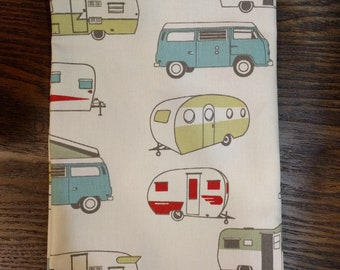 Fat Quarter Fabric, RV Theme Fabric, Aqua, Mustard, Apple Cherry Red, Vintage Theme Nursery Baby Room, Master Bedroom Design Decor Ideas Bus
