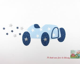Applied fusing retro car fabric blue sky flex glitter patch iron car pattern fusible iron on car pattern