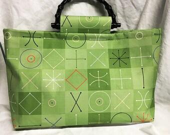Tote Bag Purse Handbag Modquilt (Spring) Green Bob Staake Canvas MCM atomic vintage style