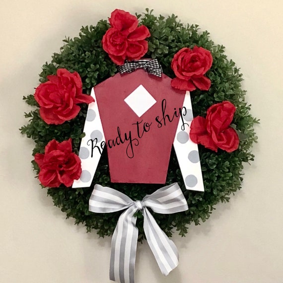 READY TO SHIP Derby wreath, Jockey door hanger, Derby, boxwood wreath, Kentucky Derby decoration, Spring horse racing wreath, Jockey wreath
