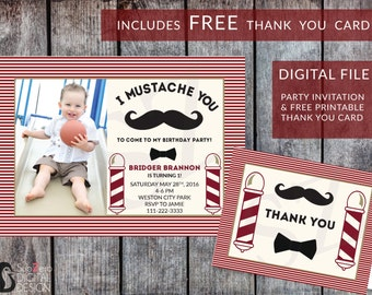 Mustache Birthday Invitation and FREE Matching Printable Mustache Thank you Card, Customized Vintage Barbershop Invite 5x7 Digital JPG File
