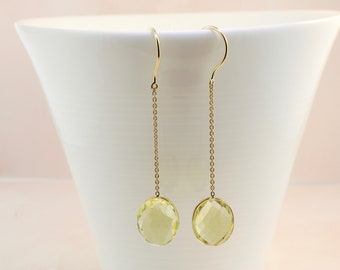 Lemon quartz single stone dangle earrings
