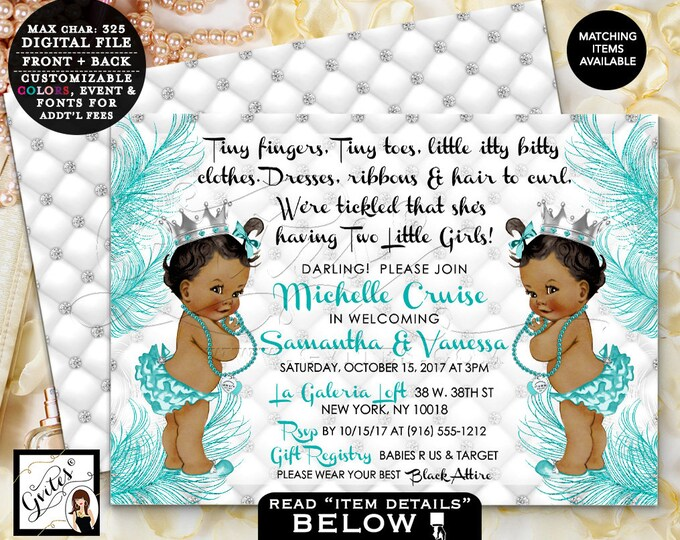 "Twins Baby Shower Baby Invitation, Baby and Co tiny fingers tickled, African American Princess, Vintage, Digital, 7x5"" double sided. Gvites"