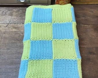 Vintage Afghan Blanket Baby Blanket Blue Green