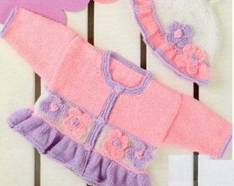 Baby Cardigan And Hat, Knitting Pattern. PDF Instant Download.