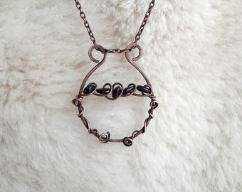 Garnet Stone Copper Pendant Wire Wrapped for Gift in February Necklace Copper Garnet Necklace Gift for Her Copper Chain Handmade Gift