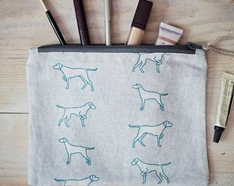 Pointing Dog Fabric Purse - Vizsla Gift - Pointer Gift - Weimaraner Gift -Hungarian Vizsla - Zipped Purse - Travel Bag - Cosmetic Purse
