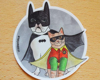 Batman sticker, Batman and Robin, Dog and cat sticker, Dog and cat laptop sticker, Dog Laptop Sticker, Cat Laptop Sticker, Dog Vinyl Sticker