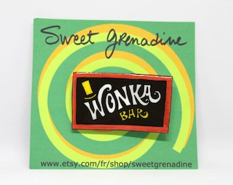 "Charlie and the Chocolate Factory ""WONKA BAR"" Shrink Plastic Brooch"