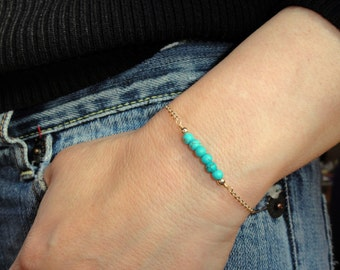 Gold turquoise bracelet, Turquoise bracelet, 14k gold fill turquoise bracelet, Gemstone bracelet, December birthstone bracelet