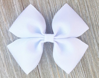White Stacked Grosgrain Ribbon Hairbow for Girls Back to School everyday wear on Barrette or clip or baby headband