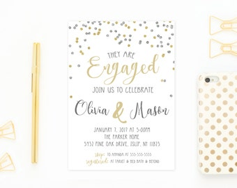 Engagement Party Invitation, Engagement Invites, Gold Engagement Invitation, Printable Invitations, Engagement Invitations, Engaged [562]