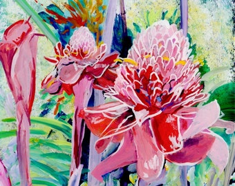 Garden of Gingers Original Reverse Acrylic Painting Kauai Hawaii Hawaiian flower Exotic Decor Hawaii Interior Design Etlingera elatior