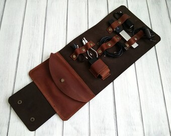 Organizer-Pouch for wires-Pouch for charger- Organizer for accessories-Road Organizer-Handmade-Leather-Personalization