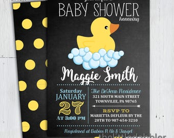 Printable Chalkboard Rubber Ducky Baby Shower Invitation -- PNG & JPG