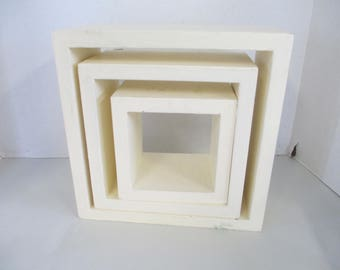 Vintage 3 wood shelves for display painted off white  used fair condition
