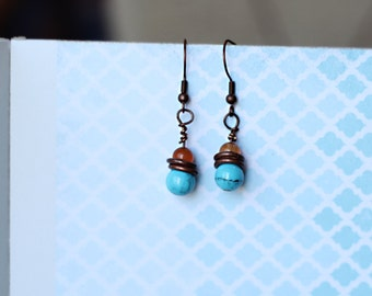 Handmade turquoise and amber earrings