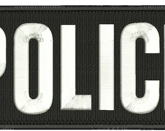 Police Embroidery Patch 10x4 inches Hook backing White letters