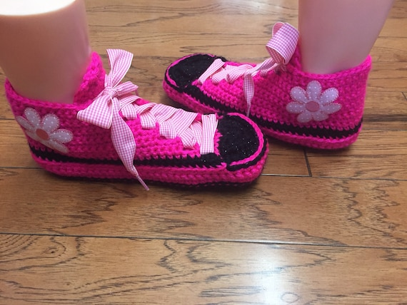Womens shoe sneakers pink sneakers pink pink flower 7 Crocheted slippers slippers sneaker flower sneakers tennis slippers 9 pink crocheted paFwaq