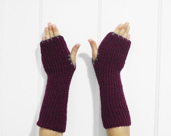 Long Fingerless Gloves / Armwarmers [Plum Purple & Gray]