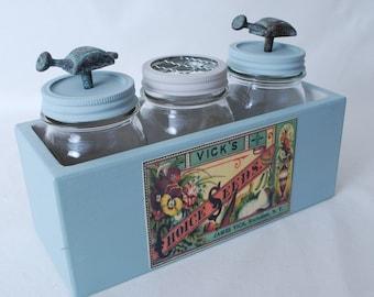 Mason Jar-Mason Jar Decor-Rustic Mason Jar-Painted Mason Jar-Mason Jar Storage