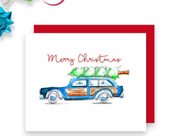Family Christmas Card - Merry Christmas from Everyone - Family Christmas - Vintage Car Christmas Card