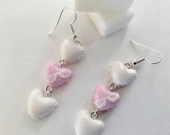Heart polymer clay earrings