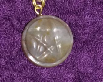 Lake Superior agate pentacle necklace