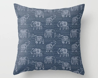 Elephant Pillow Cover Navy Pillow India Pillow Decorative Pillow Size Choice