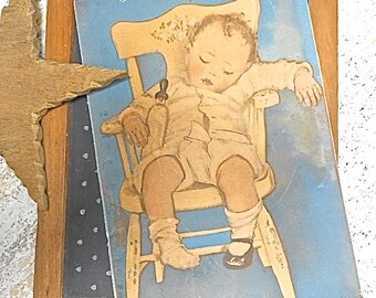 Vintage 1940s  Ephemera,  Sleeping Baby Print,  Baby Shower Gift, Nursery Room Decor,  Mixed Media Art Supply