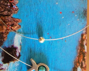 Adornment necklace and fish earrings
