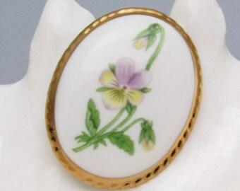 Vintage Flower Brooch Porcelain Jewelry