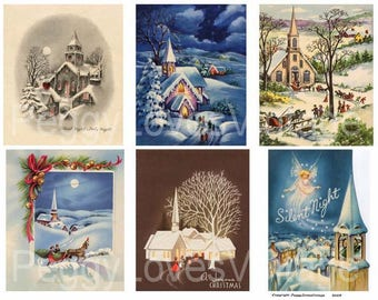 Church 2 Digital Collage from Vintage Christmas Greeting Cards -  Instant Download - Cut Outs