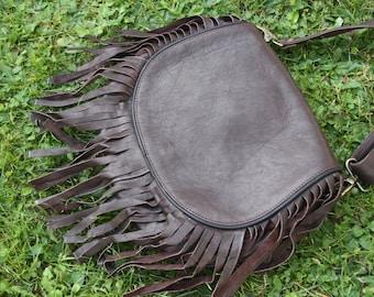 Leather fringe bag, handmade leather bag, bohemian leather bag, boho fringe bag, brown crossbody bag, hippie bag, gypsy fringe, festival bag