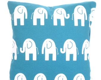 Turquoise White Elephant Pillow Covers, Nursery Pillow, Cushions True Turquoise White Baby Pillow, Shower Gift, One or More ALL SIZES