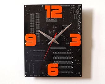 Dark Brown Large Wall Clock Circuit Board Clock Unique Recycled Computer Clock Geek PC Gift Motherboard Clock Fancy Clock Orange Digits
