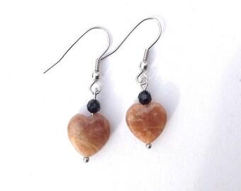 Apricot Moonstone heart earrings