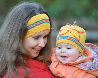 Knitting Pattern - Spring Butterfly Baby Hat and Headband (Baby sizes)