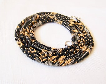 Long Beaded Crochet Rope Necklace - Beadwork - Seed beads jewelry - Elegant - Geometric  - Patchwork - Black - Grey - Gold