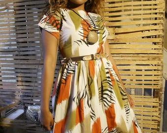 80s zebra print safari dress