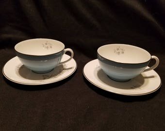 """Royal Doulton """"Summer Song"""" fine china tea cup and saucer set of 2"""