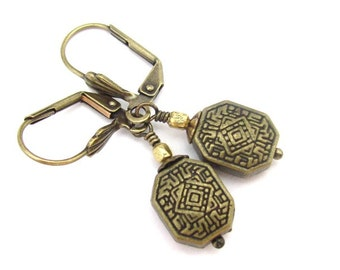 Antiqued Brass Bohemian Earrings Dainty Dangle Drops Vintage Wedding Bridal Bride Ornate Lever Back and Clip On, Hawaiian Jewelry
