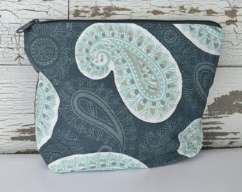 Make Up Bag, zipper Pouch, Paisley Grey & light teal blue Cosmetic Case, Canvas Pouch, Gift for woman,  by Darby Mack, in stock